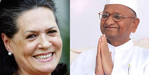 अन्ना हजारे, महात्मा गांधी, कांग्रेस अध्यक्ष, सोनिया गांधी