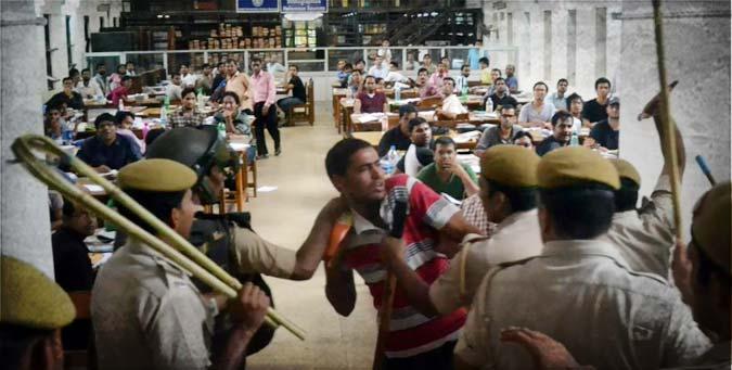 Indian democracy, Congress, abvp, brutal lathicharge, delhi police, DUSU 2012 election, delhi university, du